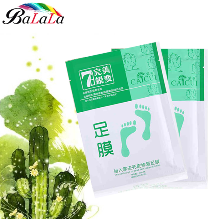 feet care exfoliating foot mask foot peeling Cactus extract socks for pedicure free shipping remover