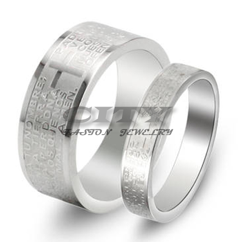 Fashion Accessories Lovers' Jewelry Bible Engraved Design Couple Ring Titanium Steel Cross Siliver Woman Man Wedding Bands GJ043(China (Mainland))