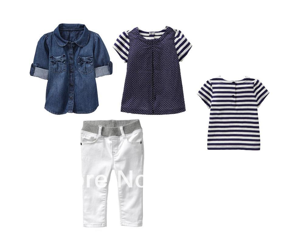 2014 new fashion girl' cloth spring/summer children 3pcs clothing sets washed denim shirt+T shirt+white pant 6sets/lot(China (Mainland))