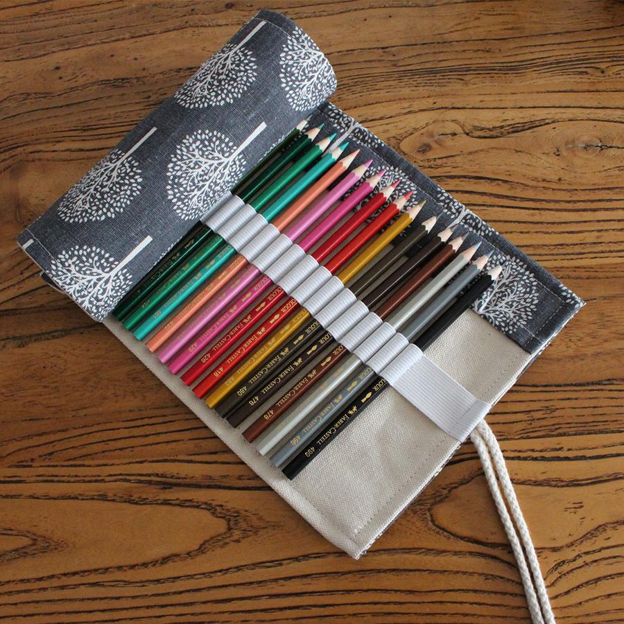 Pencil Case Portable Canvas School Pencil Case Students Stationary Storage Bag Pouch Painting 36/48/72 Holes