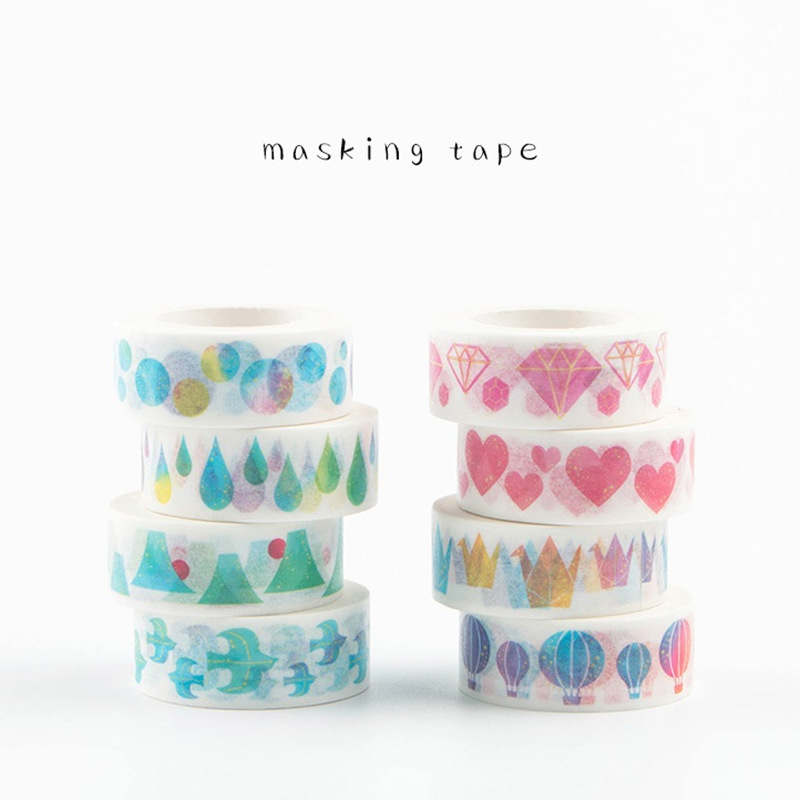 8 pcs/Lot Water color paper masking tapes Heart Diamond Bird Decorative Japanese tape Washi stickers for scrapbooking F147(China (Mainland))