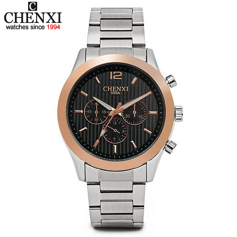 Mens Watches Men Luxury Brand CHENXI 059 Three Small Dial Decoration Fashion Quartz Men Full Steel Watch Male Clock Analog <br><br>Aliexpress