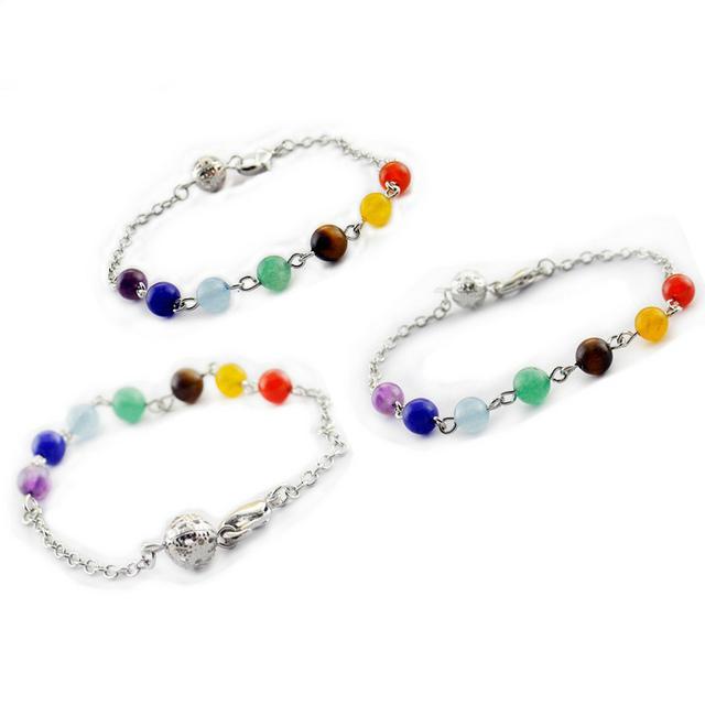 Природный кристалл бусины браслет семь цветов чакра короткой цепью браслет для мужчин ...
