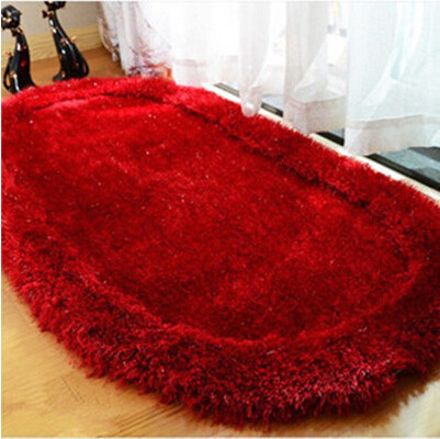 70*140cm Bright Silk Oval Carpet 3D Cozy Shag Collection Solid Shag Rug Contemporary Living & Bedroom Soft Shaggy Area Rug