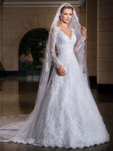 2015 vestido de noiva sexy manica lunga in pizzo abiti da sposa da sposa su misura abito da sposa vestido de novia con velo(China (Mainland))