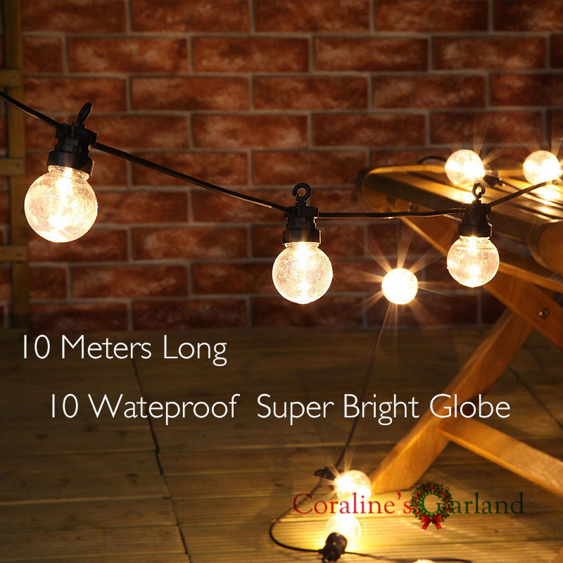 Nolvety Waterproof 10 Globe Clear Big Globe G45 Connectable Outdoor Use Festoon Party String Christmas Holiday Garland Lights(China (Mainland))