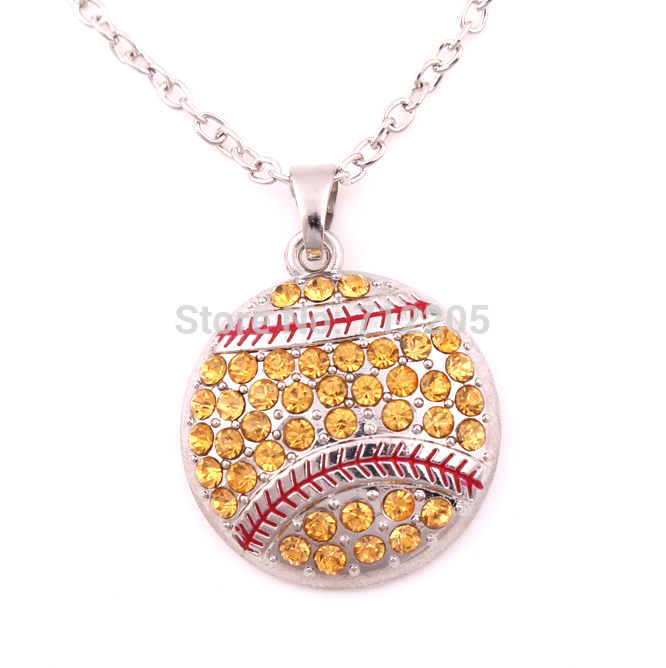 New product 10pcs zinc alloy rhodium Baseball or Softball Pave Crystal sports Pendant chain necklaces(China (Mainland))