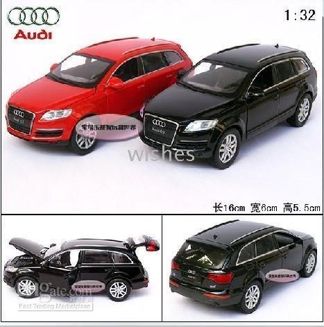 010725! 2pieces/lot,Audi Q7 ultra cool acousto-optics quarto gate alloy model of motor car,size:1:32