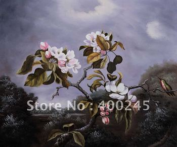 flower oil painting,Apple Blossoms and Hummingbird by Martin Johnson Heade canvas painting,100%handmade,Mesuem quality