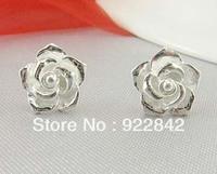 999 Fine Pure Silver Lovers Millet Rose Stud Earring Sterling Silver Flower No Allergy