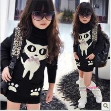Free shipping children's winter models girls plus velvet high collar bottoming sweater children long paragraph children clothing(China (Mainland))