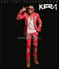 S-XXL HOT 2016 NEW Men's casual singer bigbang GD Red flower suit jacket costume Nightclubs clothing Groom wedding dress - Oriental integrity boutique shops store
