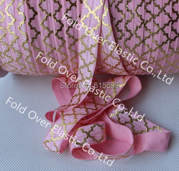 Big Quatrefoil Gold Foil FOE Ribbon-100Yards #150 pink Fold Over Elastic Ribbon with High Quality-Factory Custom Printed Ribbon