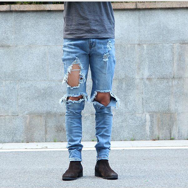 kpop skinny ripped korean hip hop fashion pants cool mens urban ...