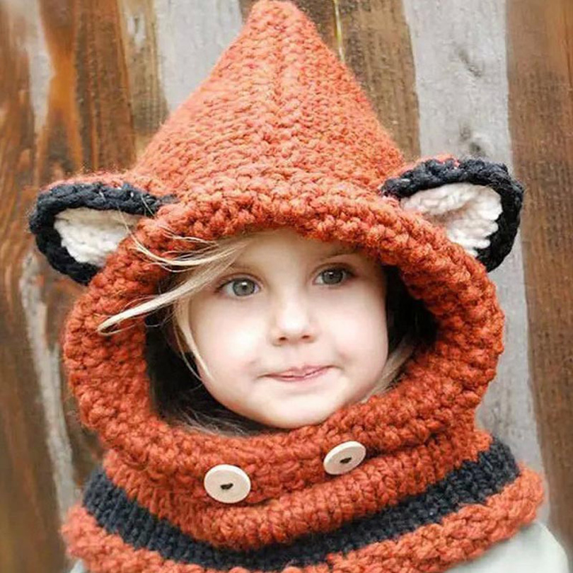 Hot Kawaii Fox Cat Hat Winter Crochet Hooded Baby Scarf Warm Children Neck Warp Head Scarf Beanie Knitted Cowl Cap Scarves(China (Mainland))