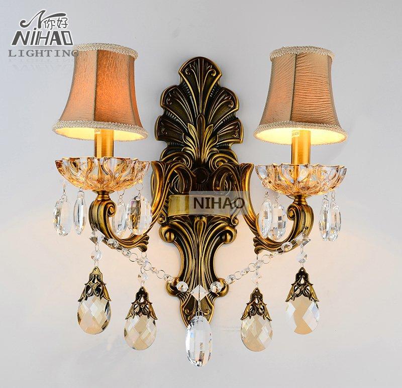 Antique Brass Wall Sconces Crystal Light Fixture 2 Arms Vintage Home Lighting Wall Bracket Bra Light(China (Mainland))