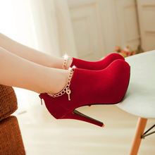 New Fashion Women Pumps Sexy Round Toe Thin High Heels Shoes Woman Autumn Winter Zipper Flock