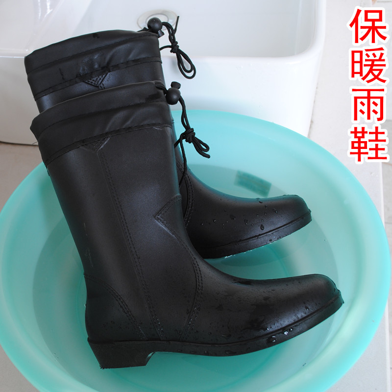 2016 Hot Sale rubber Winter rainboots Fashion In Tube Plus Velvet Warm Cotton Boots, Women's Singles Water Overshoes от Aliexpress INT
