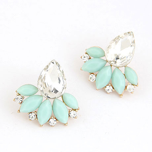 New Brand Design Retro Exquisite Women Acrylic Flower Crystal Gem Cubic Zircon Diamond Stud Earrings For Women Accessories PT31(China (Mainland))