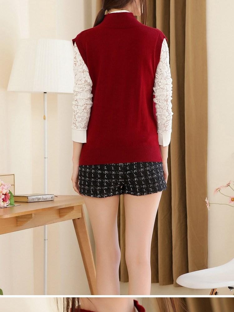 Winter  Женщины's V - образный вырез Cashmere свитер Hedging Big Autumn Рукавless Жилет свитер Талияcoat Pullover Genuine