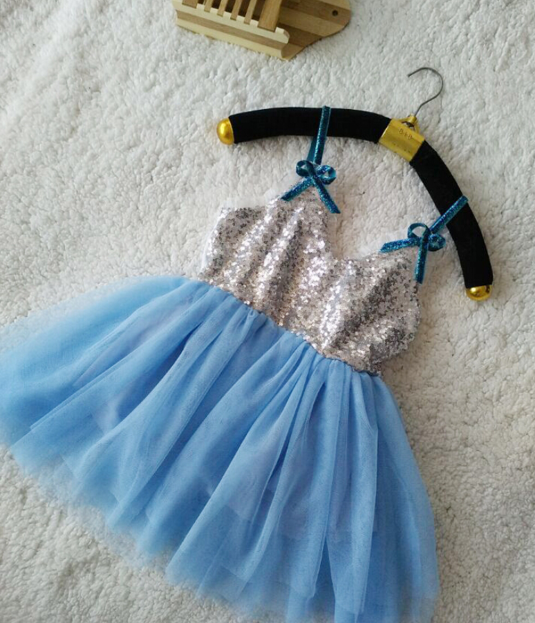 Fashion Sequined Bow Sling Blue Dresses Summer For Kids Baby, Princess Girls Sweet Clothes 5 pcs/lot,Wholesale(China (Mainland))