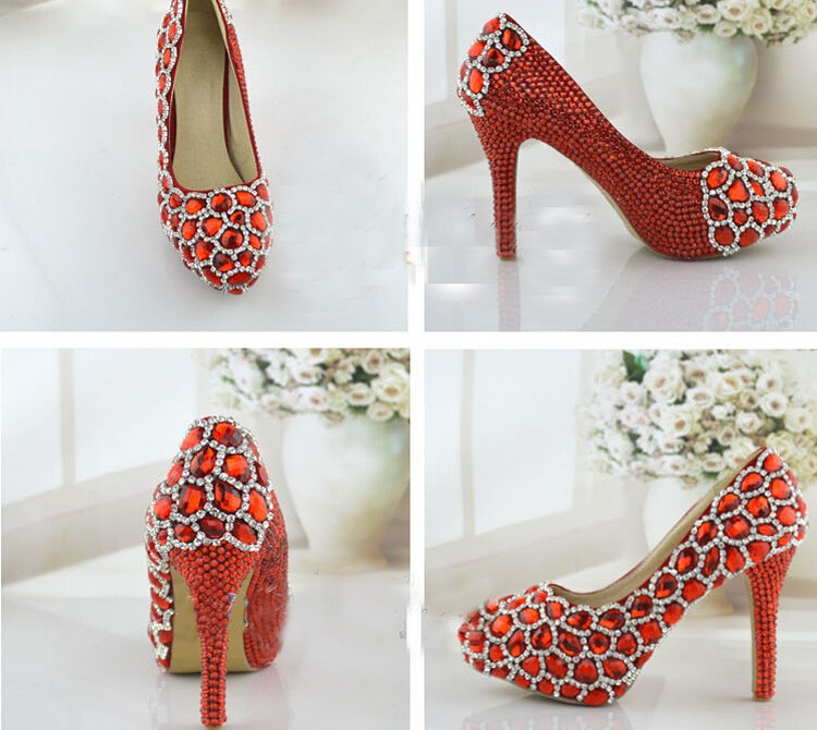 Rhinestone High Heels Formal Shoes Red Wedding Shoes Elegant Performance Banquet Crystal Party  Platforms Fashion Women Pumps