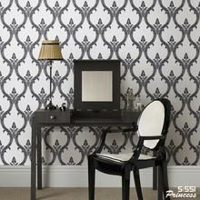 Black & White Modern Victorian Velvet  Papers Flocked Background Wallcovering Roll 10m Living Room Decoration flocking velvet(China (Mainland))