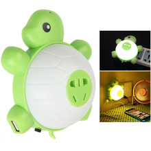 Cute USB Wall Charger Socket Turtle Night Light Sound and Light Control LED Night Light(China (Mainland))