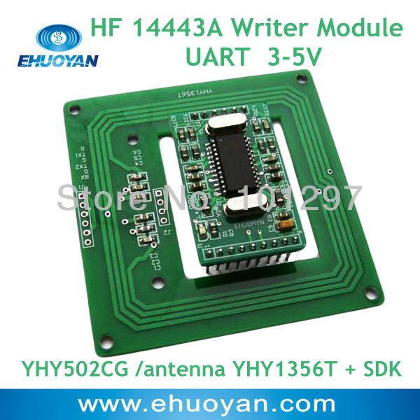 13.56Mhz  rfid Reader Writer module  UART  3-5V YHY502CG /antenna YHY1356T + SDK<br><br>Aliexpress