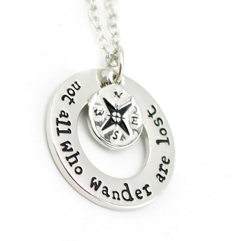 """Hot Wanderlust handstampe Jewelry Travelers Necklace Wanderlust """" Not All Who Wander Are Lost"""" Inspirational Jewelry"""