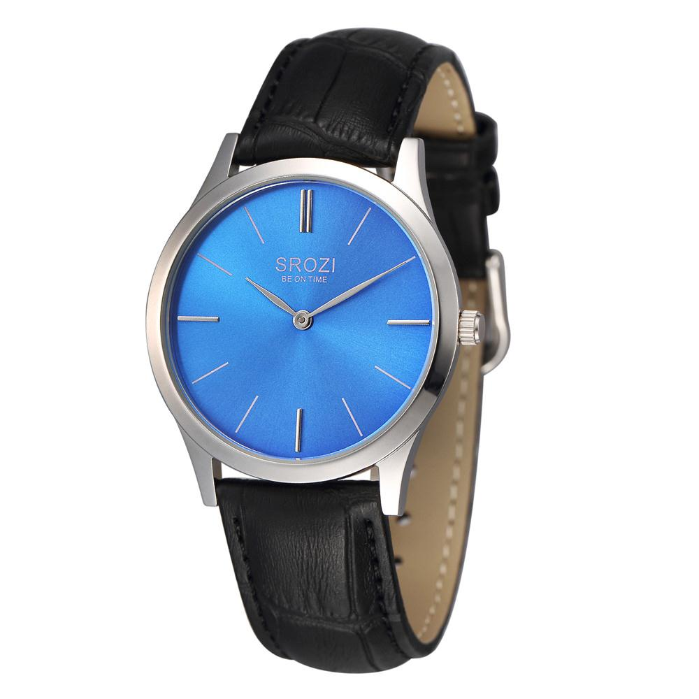 SROZI 5.8mm Extra Slim Mens Casual Watch Blue Dial Leather ...