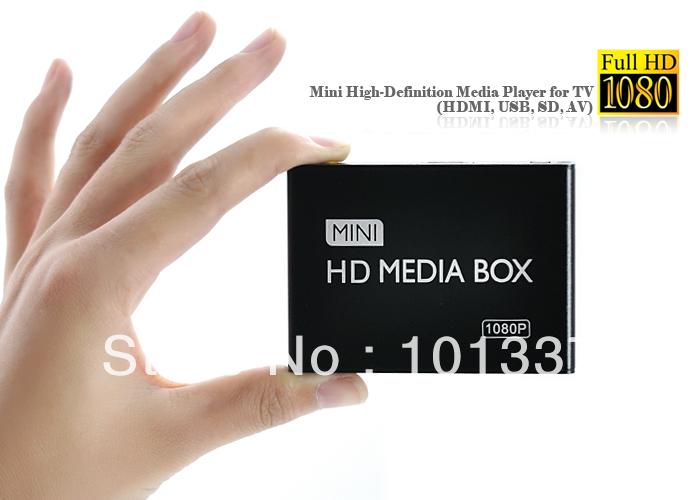 3D Full HD 1080P Media Player USB/SD RMVB RM H.264 MKV AVI VOB with AV,HDMI port Mini Hdd player free hdmi cable free shipping(Hong Kong)