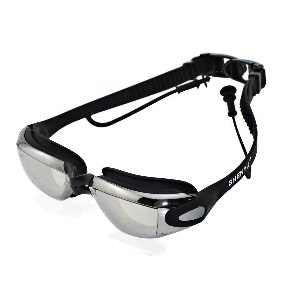 New Super Clear Anti-Fog Anti-Shatter UV Protection Lens Swimming Goggles Glasses Mirrored Lenses Swim Eyewear Siamese Earplugs(China (Mainland))