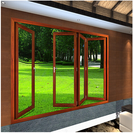 Aluminum folding exterior door with double hollow for Exterior folding glass doors