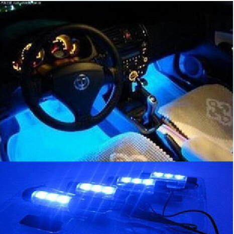 New 4x 3LED Blue Car Charge interior accessories foot car decorative 4in1 lights daytime running light car styling and parking(China (Mainland))