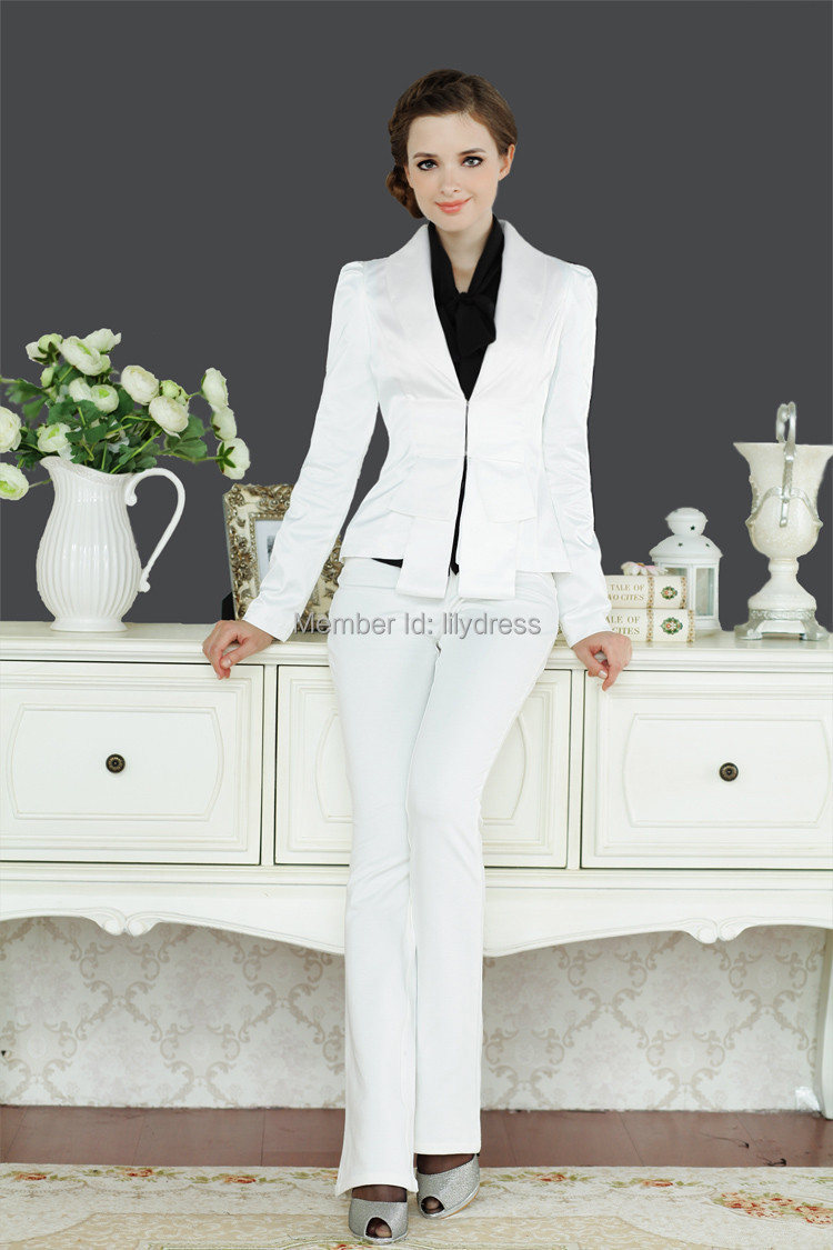 Popular Striped Pant Suits Women Business Formal Office Uniform New 2016 White