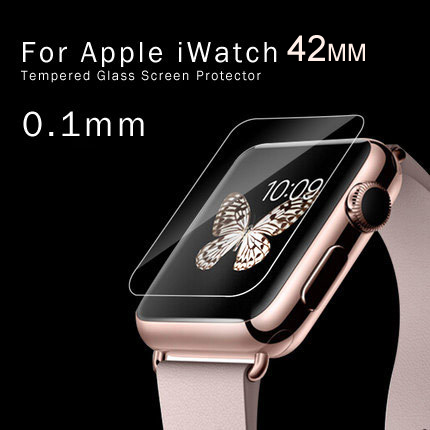 0.26mm 9H Premium Explosion Proof Real Tempered Glass Protective Film Screen Protector for Apple Watch For Iwatch 42mm(China (Mainland))