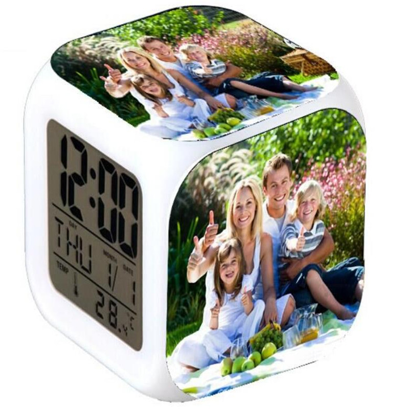 Customized Family Photo LED 7 Colors change digital Alarm Clock theRmometer touch light electronic Toys Custom for families(China (Mainland))