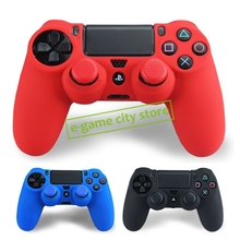 Soft Silicone Rubber Skin Case Cover for Sony PS4 Controller Grip Cover + 2pcs Thumbstick For JoyStick Silicone Caps(China (Mainland))