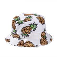 2016 New Fashion Ladies Summer White Pink Pineapple Printed Bucket Hats Caps For Women(China (Mainland))