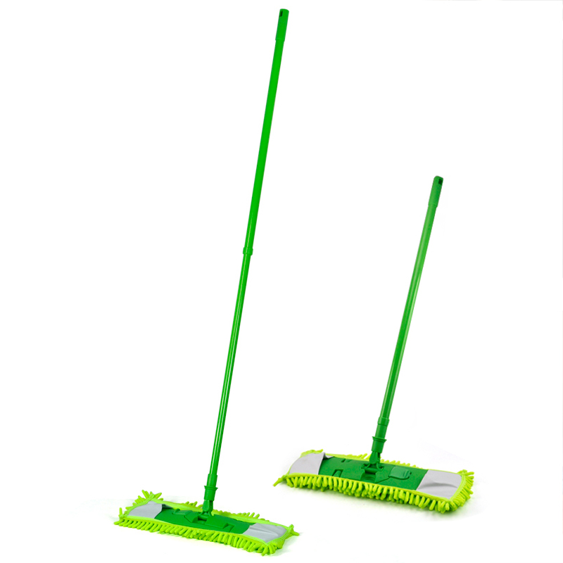 FJS!New Extendable Microfibre Mop Cleaner Sweeper Wet Dry - Green(China (Mainland))
