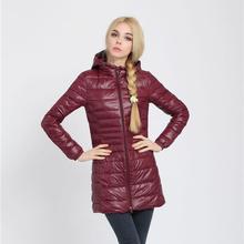 Snowka Female Warm Winter Jacket Women Coat Thin Brand 90% White Duck Down Parka Ultra-light Down Jacket Long Elegant Outwear(China (Mainland))
