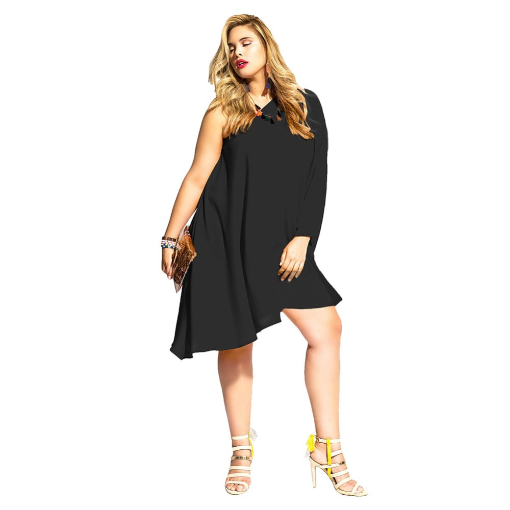 Black One Shoulder Knee Length Dress