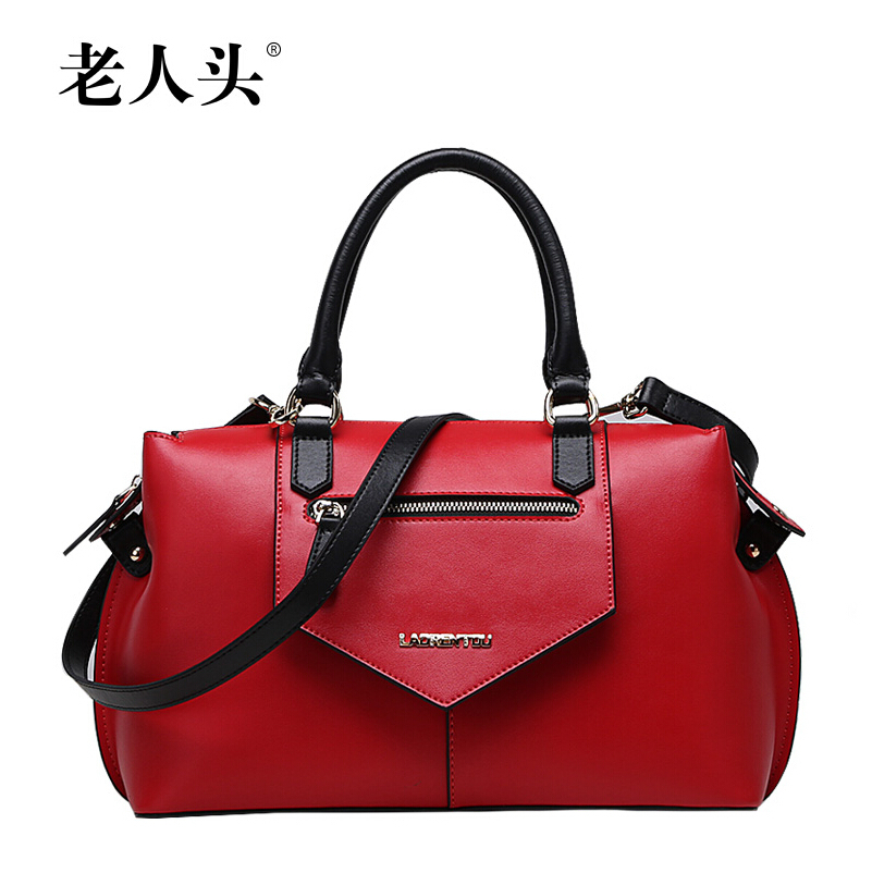 LAORENTOU Brand Luxury genuine leather handbags New fashion hit color stitching leather portable shoulder messenger bag<br><br>Aliexpress