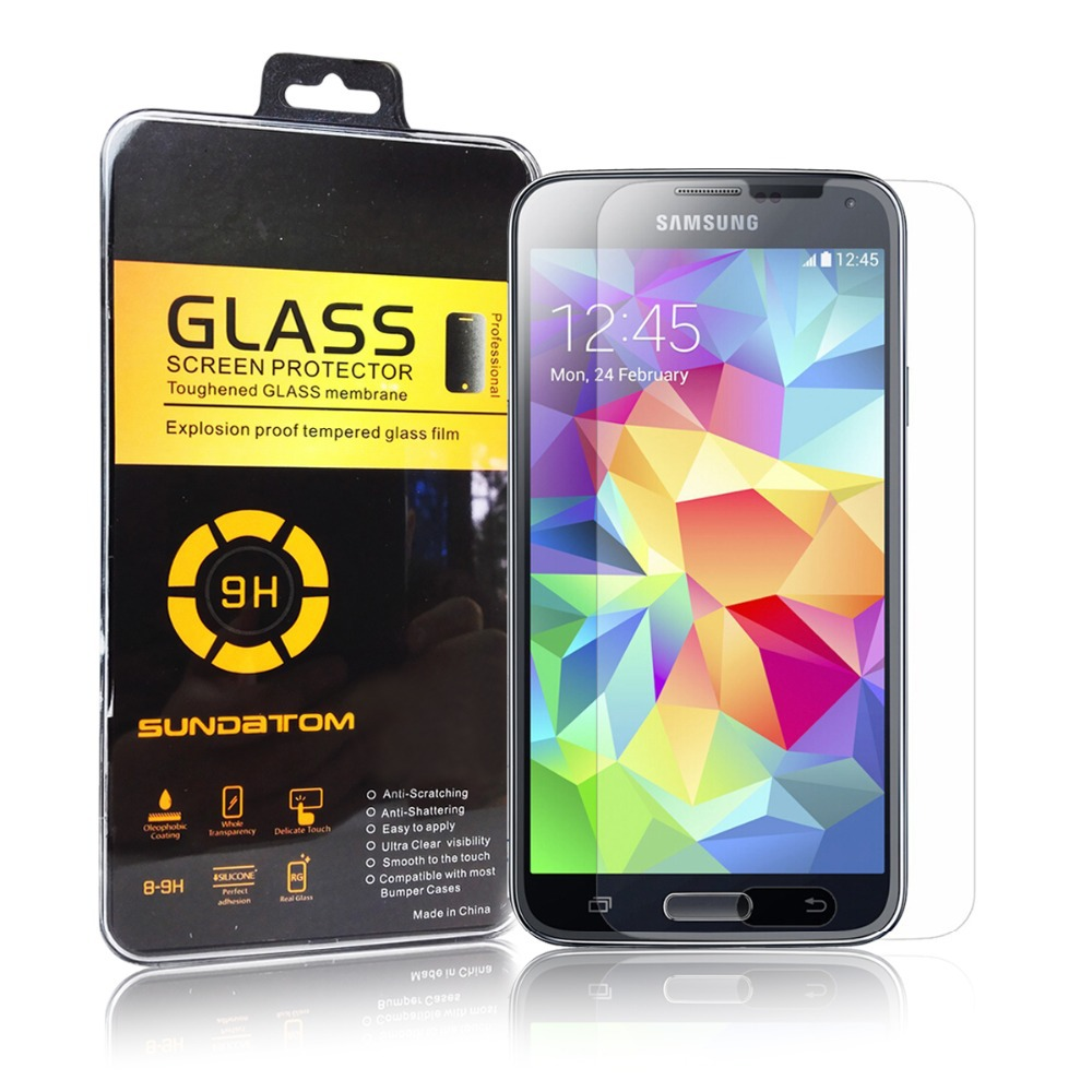 Promotion ultra thin 2.5D Round Edge Premium Tempered Glass Screen Protector For Samsung Galaxy S5 I9600 9H Hardness(China (Mainland))