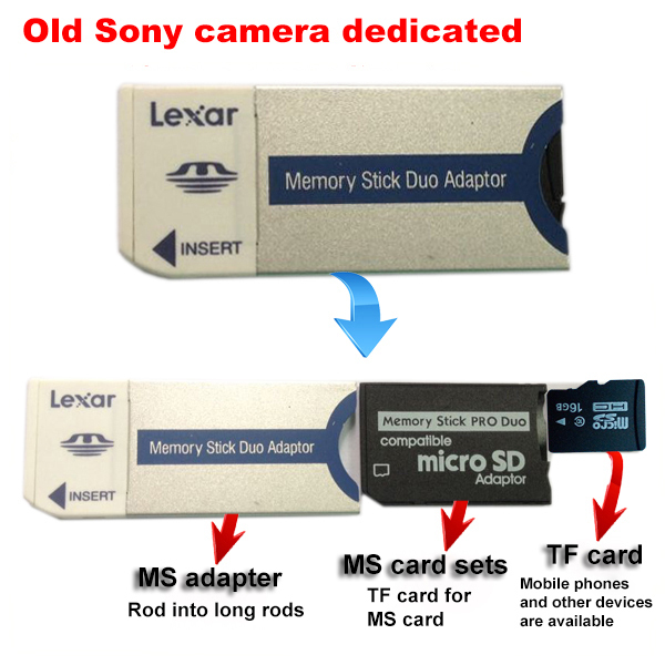 Newest Memory Stick Pro Duo Card Adapter + MS Pro Duo Adapter + TF CARD  Flash Memory Card for Sony  8gb 8g<br><br>Aliexpress