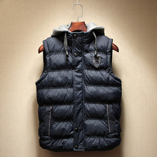 Size L-3XL Blue/Khaki/Yellow Men Winter Autumn Casual Cotton Vests Fashion Outerwear Jacket Sleeveless Hooded Coat Free Shipping(China (Mainland))