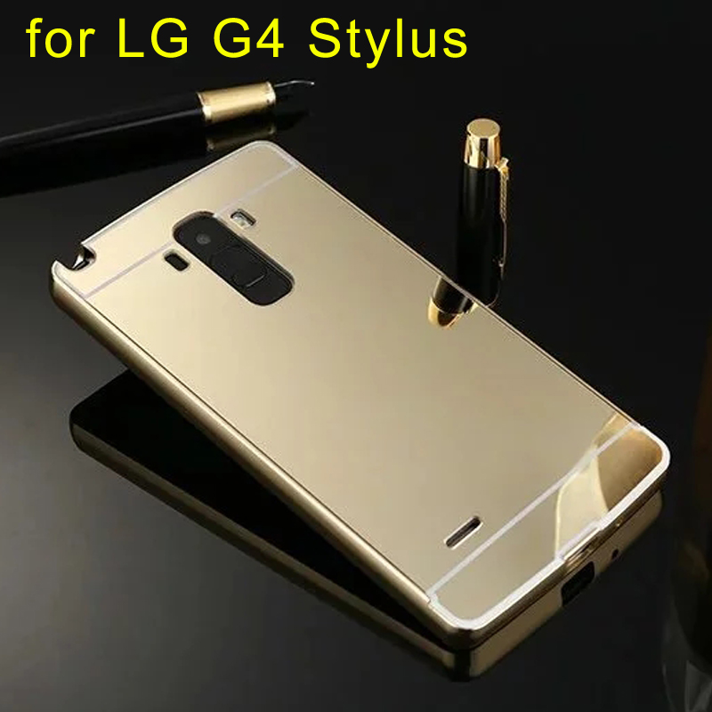 Phone Case for LG G4 Stylus Electric Plating Aluminum Metal Frame Mirror Acrylic Back Cover Case For LG G4stylus with 4 Color(China (Mainland))