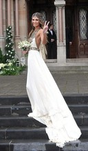 Sexy Beach Chiffon Wedding Dress 2017 New Bohemian Halter Off Shoulder Sleeveless Backless Dress Bride Bridal Dresses(China (Mainland))