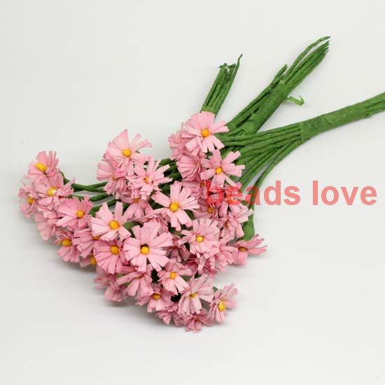 Sale!!! 1.5cm head Pink handmade Mulberry Paper Daisy Flower artificial sunflowers(100pcs/lot) Pick color(w03285)(China (Mainland))